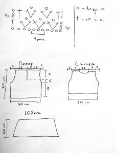 Платье крючком для девочки - схема