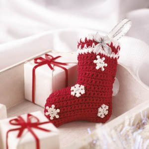2014 christmas gifts snowflakes decorated stocking crochet pattern - christmas decor christmas craft-f24262