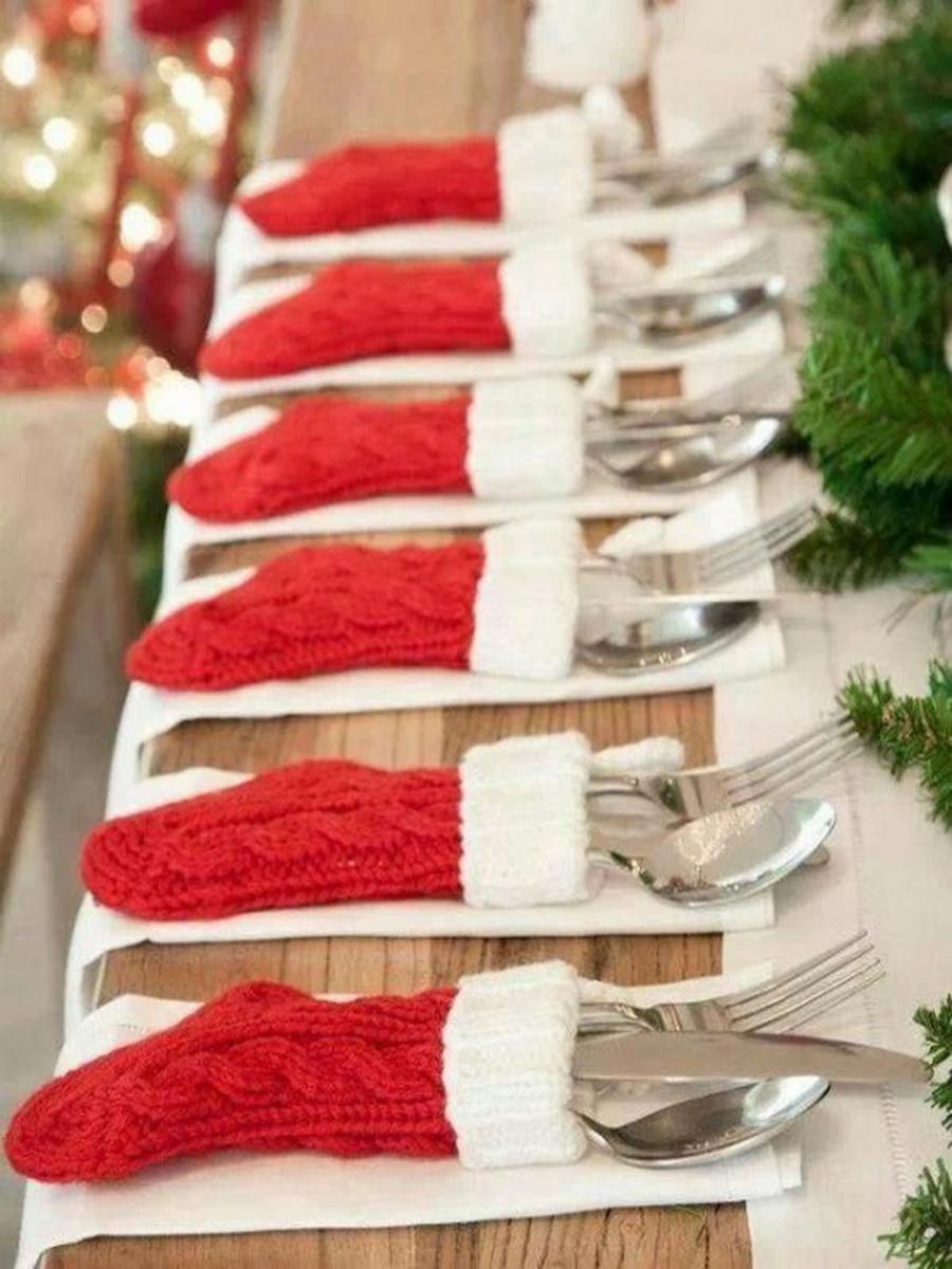Новогоднее украшение стола своими рукам