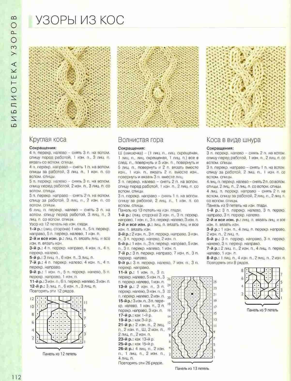 Схемы вязания креативных кос спицами