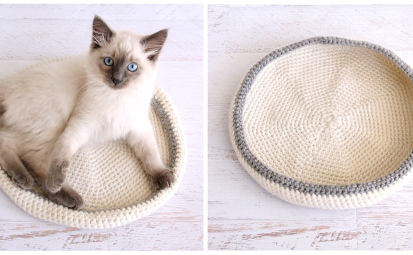 Вязаная лежанка для кошек крючком