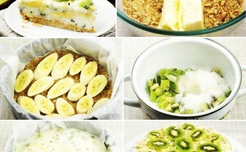 Торт из песочного печенья, йогурта и фруктов